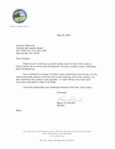 NYS Lottery press coverage appreciation letter
